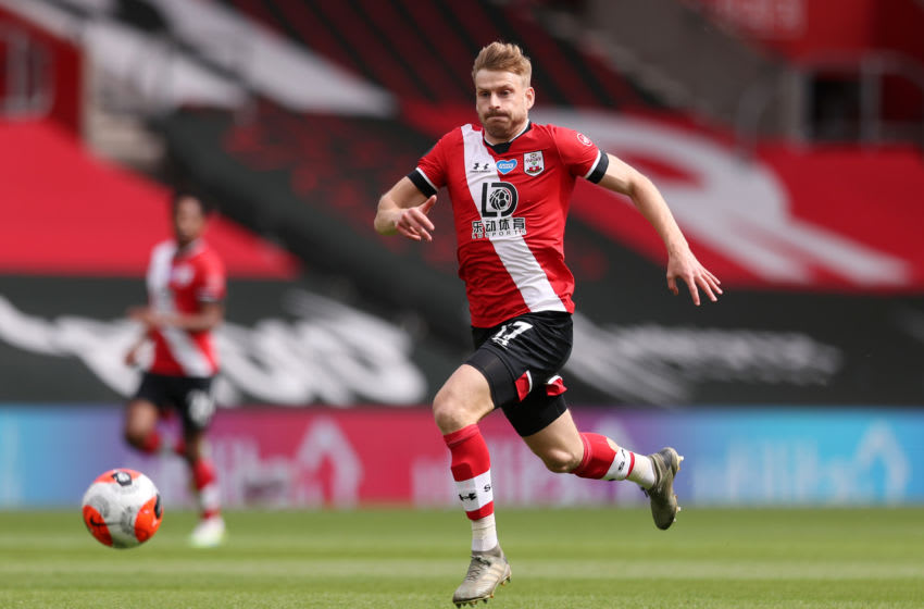 SOUTHAMPTON, ENGLAND - JULY 26: Stuart Armstrong of Southampton in action during the Premier League match between Southampton FC and Sheffield United at St Mary's Stadium on July 26, 2020 in Southampton, England. Football Stadiums around Europe remain empty due to the Coronavirus Pandemic as Government social distancing laws prohibit fans inside venues resulting in all fixtures being played behind closed doors. (Photo by Naomi Baker/Getty Images)