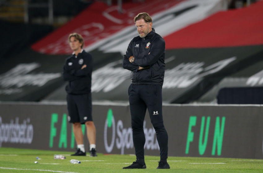 SOUTHAMPTON, ENGLAND - SEPTEMBER 16: Ralph Hasenhuttl of Southampton reacts during the Carabao Cup Second Round match between Southampton FC and Brentford FC at St. Mary's Stadium on September 16, 2020 in Southampton, England. (Photo by Robin Jones/Getty Images)