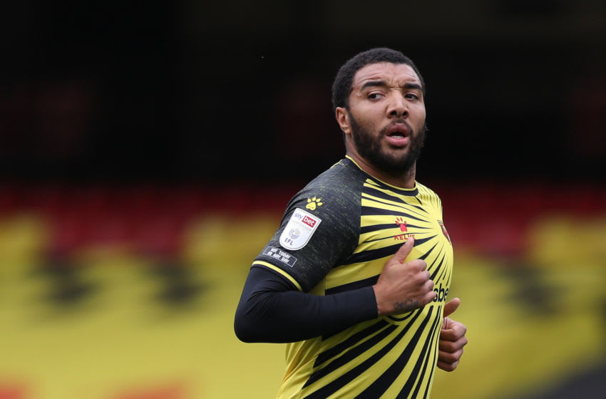 WATFORD, ENGLAND - SEPTEMBER 26: Troy Deeney of Watford in action during the Sky Bet Championship match between Watford and Luton Town at Vicarage Road on September 26, 2020 in Watford, England. Sporting stadiums around the UK remain under strict restrictions due to the Coronavirus Pandemic as Government social distancing laws prohibit fans inside venues resulting in games being played behind closed doors. (Photo by Naomi Baker/Getty Images)