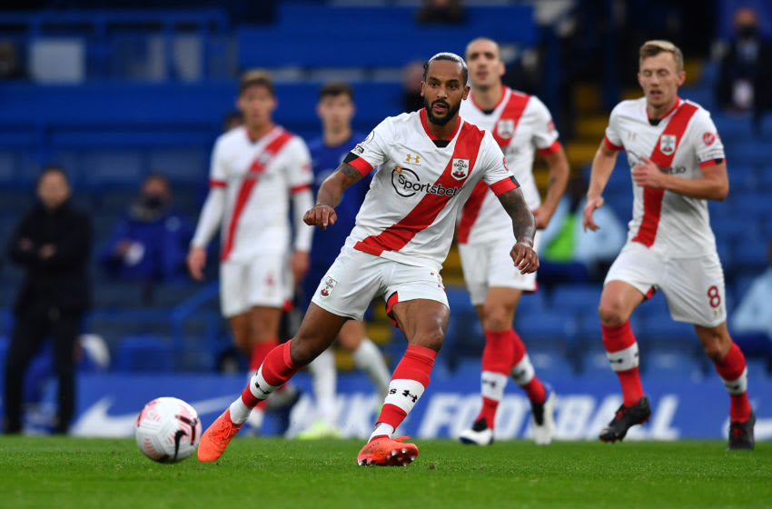LONDON, ENGLAND - OCTOBER 17: Theo Walcott of Southampton in action during the Premier League match between Chelsea and Southampton at Stamford Bridge on October 17, 2020 in London, England. Sporting stadiums around the UK remain under strict restrictions due to the Coronavirus Pandemic as Government social distancing laws prohibit fans inside venues resulting in games being played behind closed doors. (Photo by Ben Stansall - Pool/Getty Images)