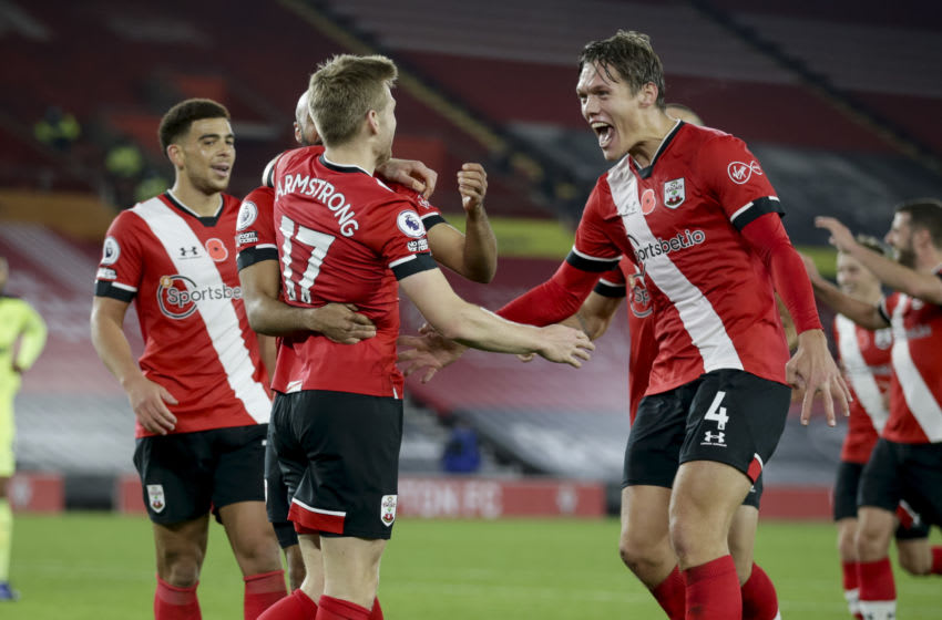 SOUTHAMPTON, ENGLAND - NOVEMBER 06: Stuart Armstrong of Southampton celebrates after he scores a goal to make it 2-0 during the Premier League match between Southampton and Newcastle United at St Mary's Stadium on November 06, 2020 in Southampton, England. Sporting stadiums around the UK remain under strict restrictions due to the Coronavirus Pandemic as Government social distancing laws prohibit fans inside venues resulting in games being played behind closed doors. (Photo by Robin Jones/Getty Images)