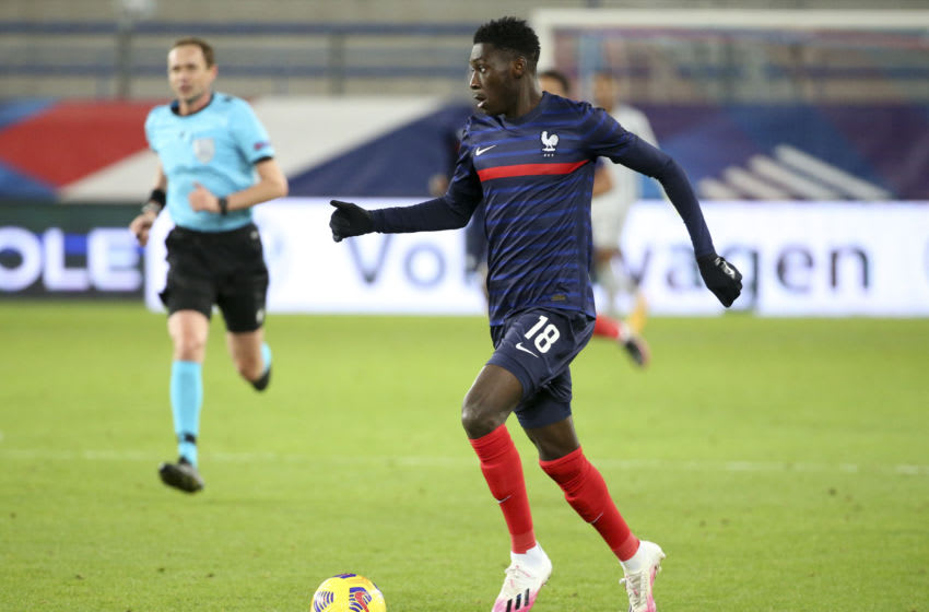CAEN, FRANCE - NOVEMBER 16: Randal Kolo Muani of France during the UEFA Euro U21 qualifier match between France and Switzerland at Stade Michel D'Ornano on November 16, 2020 in Caen, France. (Photo by John Berry/Getty Images)