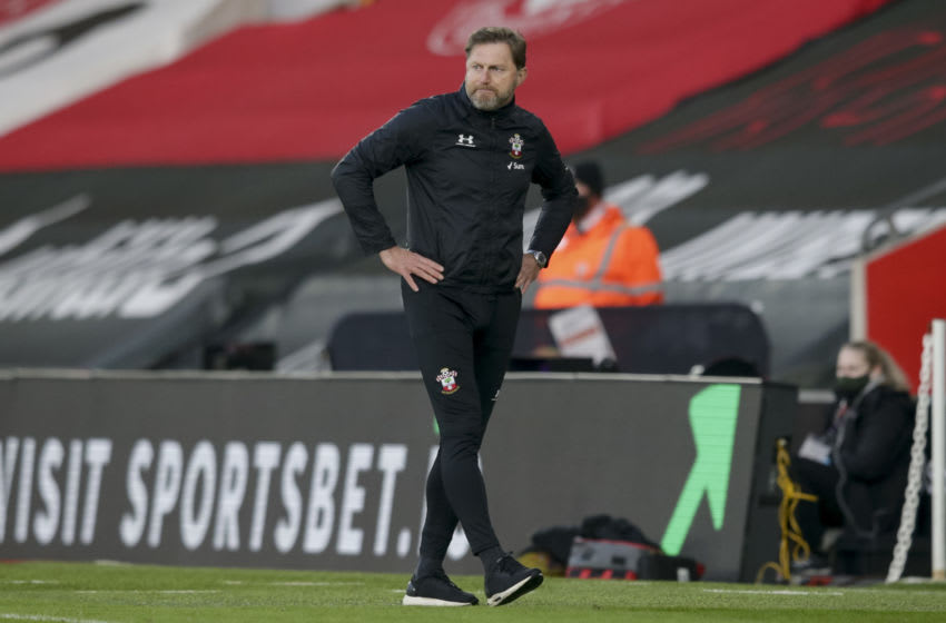 SOUTHAMPTON, ENGLAND - NOVEMBER 29: Ralph Hasenhuttl of Southampton during the Premier League match between Southampton and Manchester United at St Mary's Stadium on November 29, 2020 in Southampton, England. Sporting stadiums around the UK remain under strict restrictions due to the Coronavirus Pandemic as Government social distancing laws prohibit fans inside venues resulting in games being played behind closed doors. (Photo by Robin Jones/Getty Images)