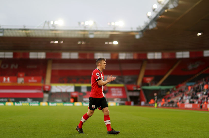 SOUTHAMPTON, ENGLAND - DECEMBER 19: James Ward-Prowse of Southampton applauds the fans as he walks to take a corner kick during the Premier League match between Southampton and Manchester City at St Mary's Stadium on December 19, 2020 in Southampton, England. A limited number of fans are welcomed back to stadiums to watch elite football across England. This was following easing of restrictions on spectators in tiers one and two areas only. (Photo by Naomi Baker/Getty Images)