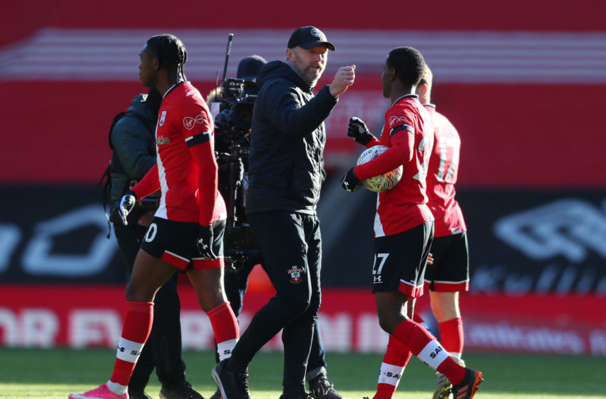 SOUTHAMPTON, ENGLAND - JANUARY 23: Ralph Hasenhuttl, Manager of Southampton interacts with Ibrahima Diallo following their side's victory after The Emirates FA Cup Fourth Round match between Southampton FC and Arsenal FC on January 23, 2021 in Southampton, England. Sporting stadiums around the UK remain under strict restrictions due to the Coronavirus Pandemic as Government social distancing laws prohibit fans inside venues resulting in games being played behind closed doors. (Photo by Catherine Ivill/Getty Images)