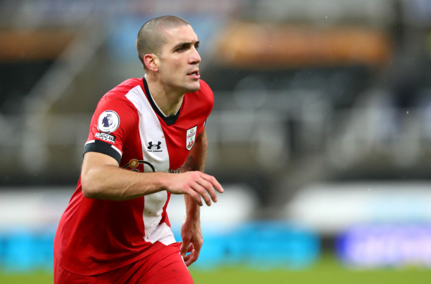 NEWCASTLE UPON TYNE, ENGLAND - FEBRUARY 06: Oriol Romeu of Southampton during the Premier League match between Newcastle United and Southampton at St. James Park on February 06, 2021 in Newcastle upon Tyne, England. Sporting stadiums around the UK remain under strict restrictions due to the Coronavirus Pandemic as Government social distancing laws prohibit fans inside venues resulting in games being played behind closed doors. (Photo by Chloe Knott - Danehouse/Getty Images)