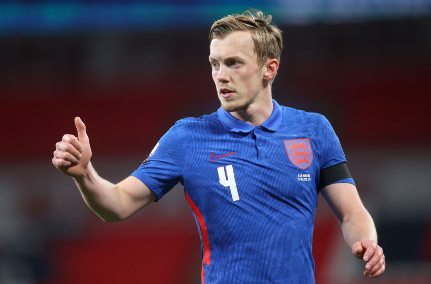 LONDON, ENGLAND - MARCH 25: James Ward-Prowse of England gestures during the FIFA World Cup 2022 Qatar qualifying match between England and San Marino at Wembley Stadium on March 25, 2021 in London, England. Sporting stadiums around the UK remain under strict restrictions due to the Coronavirus Pandemic as Government social distancing laws prohibit fans inside venues resulting in games being played behind closed doors. (Photo by Carl Recine - Pool/Getty Images)