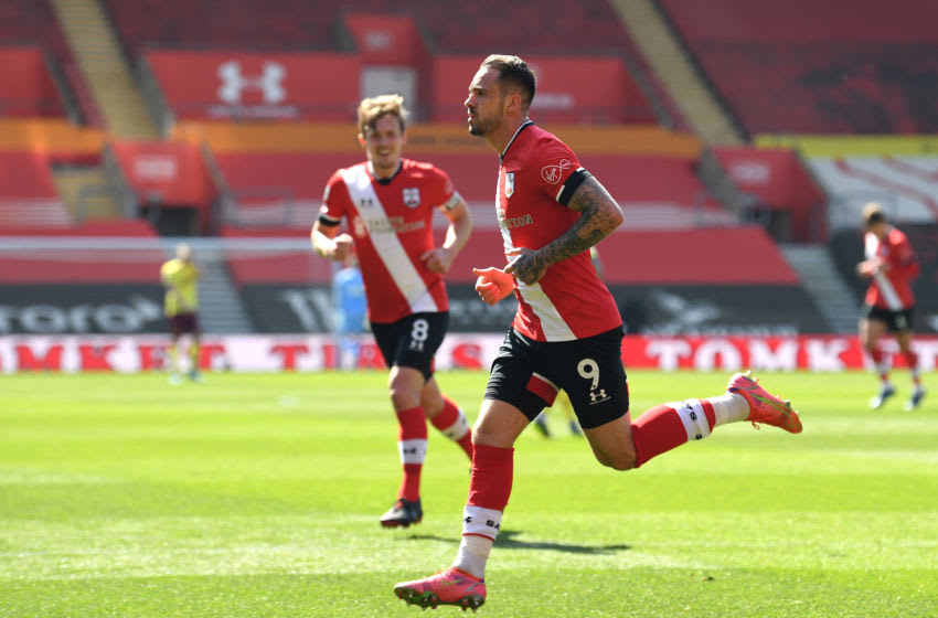 SOUTHAMPTON, ENGLAND - APRIL 04: Danny Ings of Southampton celebrates after scoring their team's second goal during the Premier League match between Southampton and Burnley at St Mary's Stadium on April 04, 2021 in Southampton, England. Sporting stadiums around the UK remain under strict restrictions due to the Coronavirus Pandemic as Government social distancing laws prohibit fans inside venues resulting in games being played behind closed doors. (Photo by Glyn Kirk - Pool/Getty Images)