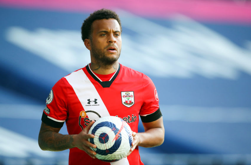WEST BROMWICH, ENGLAND - APRIL 12: Ryan Bertrand of Southampton during the Premier League match between West Bromwich Albion and Southampton at The Hawthorns on April 12, 2021 in West Bromwich, England. Sporting stadiums around the UK remain under strict restrictions due to the Coronavirus Pandemic as Government social distancing laws prohibit fans inside venues resulting in games being played behind closed doors. (Photo by Catherine Ivill/Getty Images)