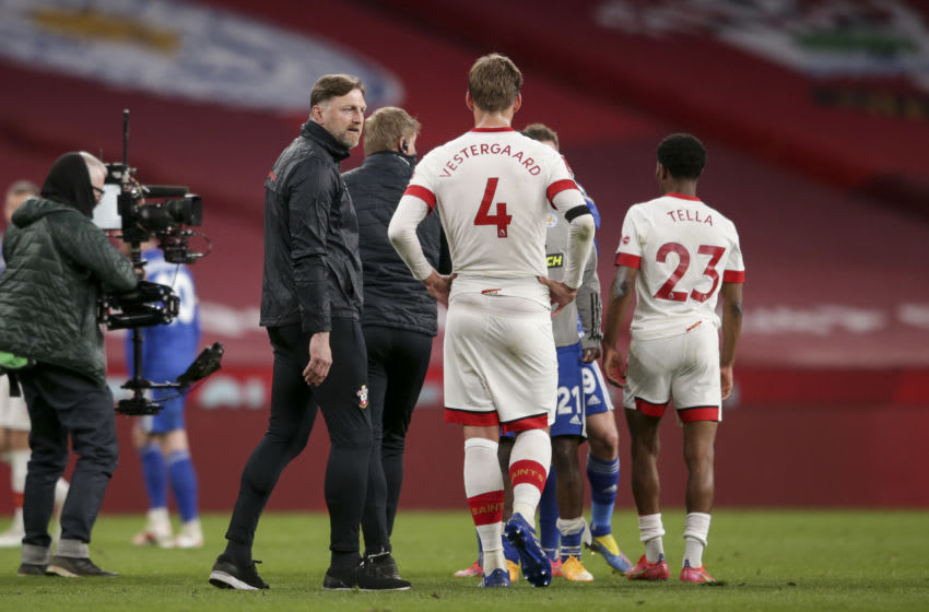 LONDON, ENGLAND - APRIL 18: Manager Ralph Hasenhuttl with Jannik Vestergaard after their sides during the Semi Final of the Emirates FA Cup match between Leicester City and Southampton FC at Wembley Stadium on April 18, 2021 in London, England. 4000 local residents have been permitted to attend the match as part of the government's Events Research Programme, which will study how to safely hold major events once coronavirus lockdown measures are eased. Other sporting events around the United Kingdom continue to be played behind closed doors. (Photo by Robin Jones/Getty Images)