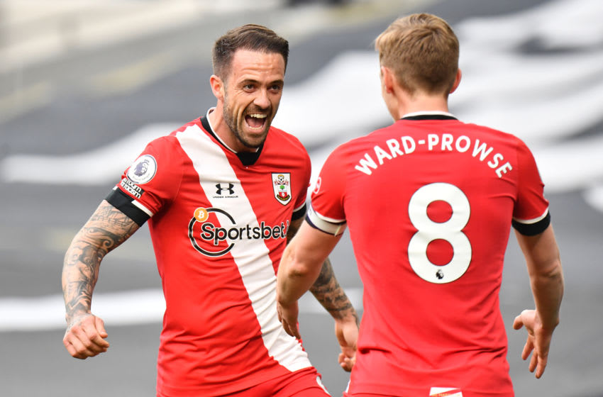 LONDON, ENGLAND - APRIL 21: Danny Ings celebrates with his team-mate James Ward-Prowse after opening the scoring for Southampton during the Premier League match between Tottenham Hotspur and Southampton at Tottenham Hotspur Stadium on April 21, 2021 in London, United Kingdom. Sporting stadiums around the UK remain under strict restrictions due to the Coronavirus Pandemic as Government social distancing laws prohibit fans inside venues resulting in games being played behind closed doors. (Photo by Sebastian Frej/MB Media/Getty Images)