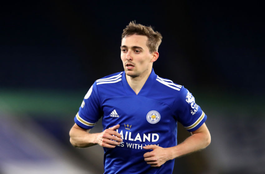 LEICESTER, ENGLAND - APRIL 26: Timothy Castagne of Leicester City during the Premier League match between Leicester City and Crystal Palace at The King Power Stadium on April 26, 2021 in Leicester, England. Sporting stadiums around the UK remain under strict restrictions due to the Coronavirus Pandemic as Government social distancing laws prohibit fans inside venues resulting in games being played behind closed doors. (Photo by Alex Pantling/Getty Images)