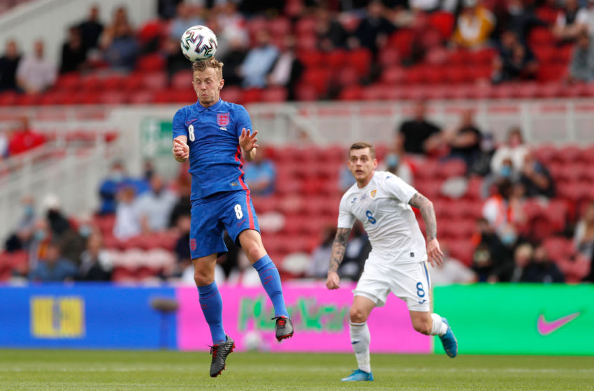 MIDDLESBROUGH, ENGLAND - JUNE 06: James Ward-Prowse of England heads the ball during the international friendly match between England and Romania at Riverside Stadium on June 06, 2021 in Middlesbrough, England. (Photo by Lee Smith - Pool/Getty Images)