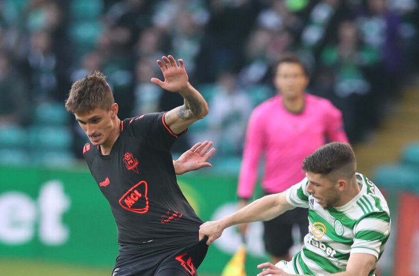 GLASGOW, SCOTLAND - AUGUST 12: Dominik Plestil of FK Jablonec vies with Ryan Christie of Celtic during the UEFA Champions League Third Qualifying Round Leg Two match between Celtic and Jablonec at Celtic Park on August 12, 2021 in Glasgow, Scotland. (Photo by Ian MacNicol/Getty Images)
