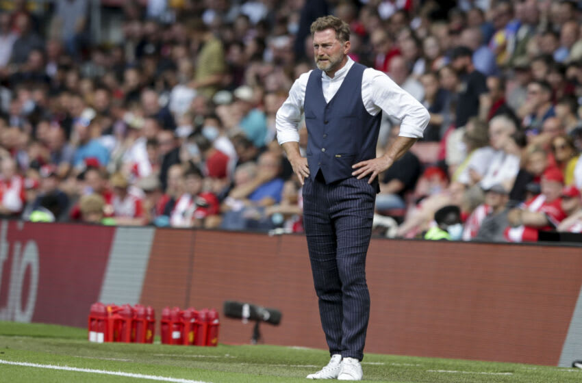 SOUTHAMPTON, ENGLAND - AUGUST 22: Head Coach Ralph Hasenhuttl of Southampton during the Premier League match between Southampton and Manchester United at St Mary's Stadium on August 22, 2021 in Southampton, England. (Photo by Robin Jones/Getty Images )