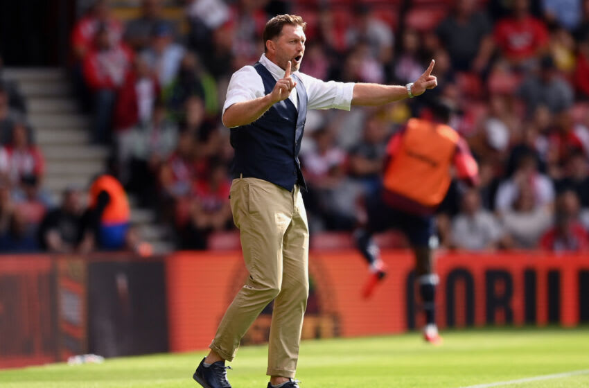 SOUTHAMPTON, ENGLAND - SEPTEMBER 11: Ralph Hasenhuettl, Manager of Southampton reacts during the Premier League match between Southampton and West Ham United at St Mary's Stadium on September 11, 2021 in Southampton, England. (Photo by Alex Davidson/Getty Images)