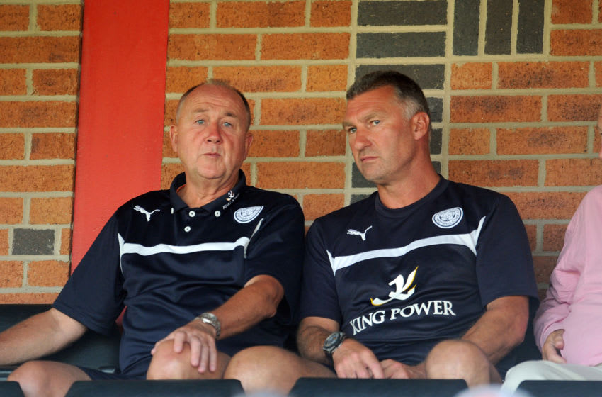 ILKESTON, ENGLAND - JULY 22: Nigel Pearson (R) manager of Leicester City with Steve Walsh during the pre season friendly match between Ilkeston and Leicester City at the New Manor Ground on July 22, 2014 in Ilkeston, England. (Photo by Clint Hughes/Getty Images)