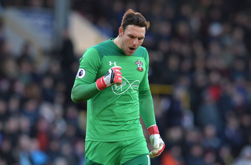 BURNLEY, ENGLAND - FEBRUARY 24: Alex McCarthy of Southampton celebrates his side's first goal during the Premier League match between Burnley and Southampton at Turf Moor on February 24, 2018 in Burnley, England. (Photo by Mark Runnacles/Getty Images)
