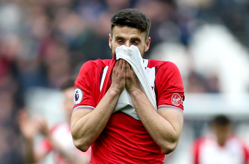 LONDON, ENGLAND - MARCH 31: Wesley Hoedt of Southampton reacts after the Premier League match between West Ham United and Southampton at London Stadium on March 31, 2018 in London, England. (Photo by Alex Morton/Getty Images)