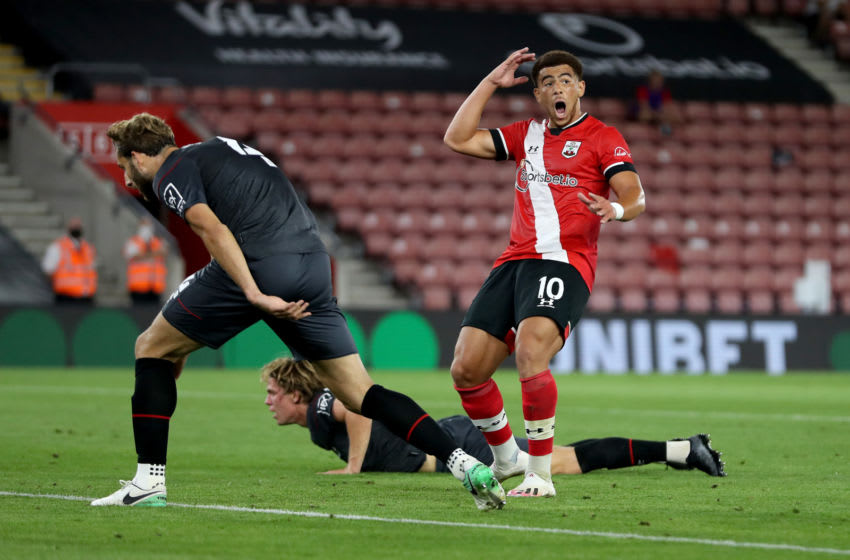 SOUTHAMPTON, ENGLAND - SEPTEMBER 16: Che Adams of Southampton reacts during the Carabao Cup Second Round match between Southampton FC and Brentford FC at St. Mary's Stadium on September 16, 2020 in Southampton, England. (Photo by Naomi Baker/Getty Images)