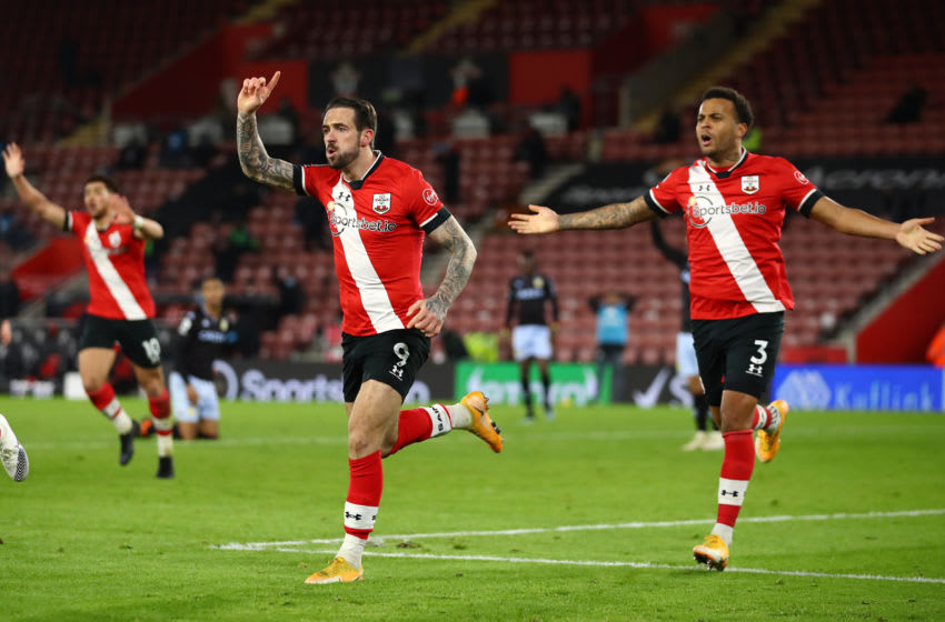SOUTHAMPTON, ENGLAND - JANUARY 30: Danny Ings of Southampton reacts after his goal is ruled offside during the Premier League match between Southampton and Aston Villa at St Mary's Stadium on January 30, 2021 in Southampton, England. Sporting stadiums around the UK remain under strict restrictions due to the Coronavirus Pandemic as Government social distancing laws prohibit fans inside venues resulting in games being played behind closed doors. (Photo by Michael Steele/Getty Images)