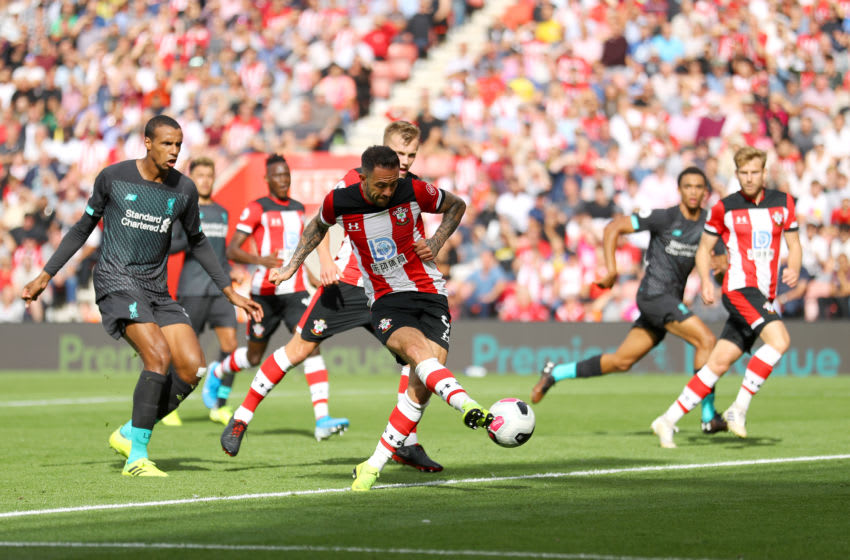 SOUTHAMPTON, ENGLAND - AUGUST 17: Danny Ings of Southampton shoots during the Premier League match between Southampton FC and Liverpool FC at St Mary's Stadium on August 17, 2019 in Southampton, United Kingdom. (Photo by Warren Little/Getty Images)