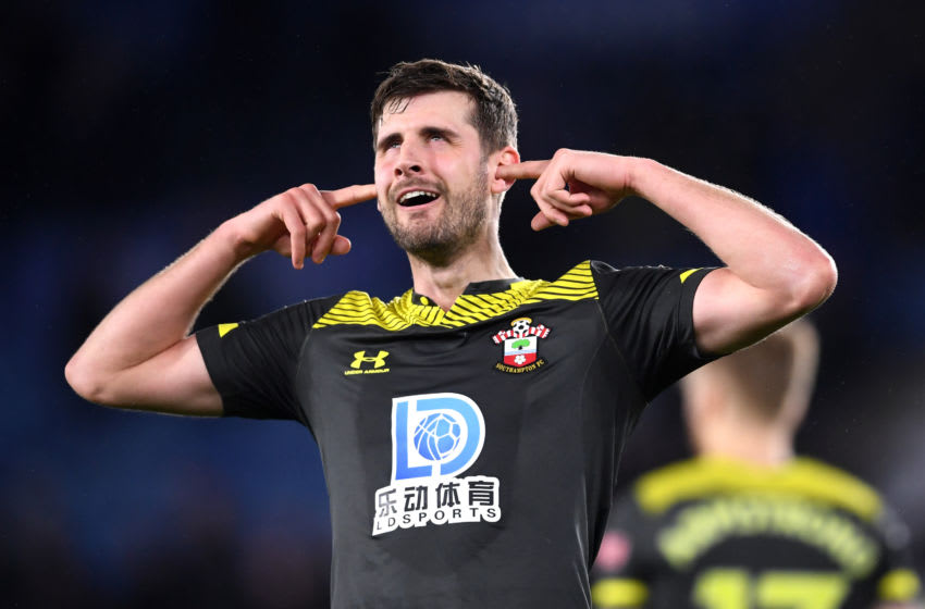 LEICESTER, ENGLAND - JANUARY 11: Jack Stephens of Southampton celebrates following the Premier League match between Leicester City and Southampton FC at The King Power Stadium on January 11, 2020 in Leicester, United Kingdom. (Photo by Laurence Griffiths/Getty Images)