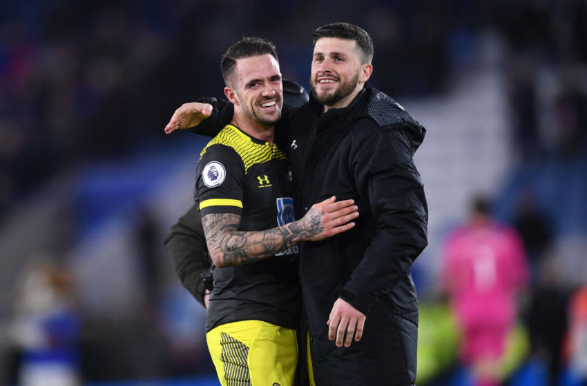 LEICESTER, ENGLAND - JANUARY 11: Danny Ings of Southampton embraces Shane Long of Southampton after their sides victory in the Premier League match between Leicester City and Southampton FC at The King Power Stadium on January 11, 2020 in Leicester, United Kingdom. (Photo by Laurence Griffiths/Getty Images)