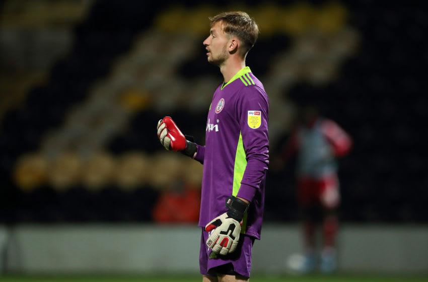 BURTON-UPON-TRENT, ENGLAND - SEPTEMBER 04: Toby Savin of Accrington Stanley during the Carabao Cup First Round match between Burton Albion v Accrington Stanley at Pirelli Stadium on September 4, 2020 in Burton-upon-Trent, England. (Photo by James Williamson - AMA/Getty Images)