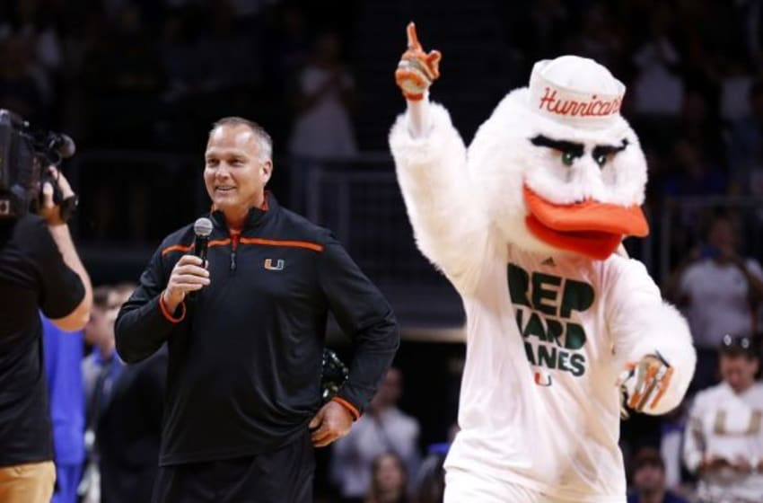 Dec 8, 2015; Coral Gables, FL, USA; Miami Hurricanes head football coach Mark Richt speaks to the fans during a timeout the first half against the Florida Gators at BankUnited Center. Mandatory Credit: Steve Mitchell-USA TODAY Sports