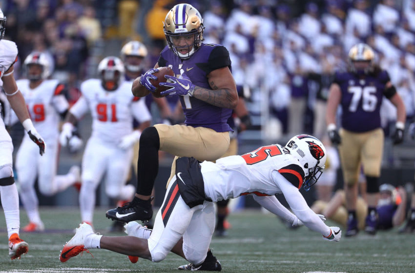 SEATTLE, WA - NOVEMBER 17: Hunter Bryant #1 of the Washington Huskies catches the ball against Jeffrey Manning Jr. #15 of the Oregon State Beavers in the second quarter during their game at Husky Stadium on November 17, 2018 in Seattle, Washington. (Photo by Abbie Parr/Getty Images)