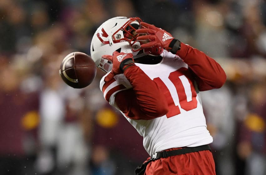 MINNEAPOLIS, MINNESOTA - OCTOBER 12: JD Spielman #10 of the Nebraska Cornhuskers is unable to catch a punt by the Minnesota Gophers during the third quarter of the game at TCF Bank Stadium on October 12, 2019 in Minneapolis, Minnesota. The Gophers defeated the Cornhuskers 34-7. (Photo by Hannah Foslien/Getty Images)
