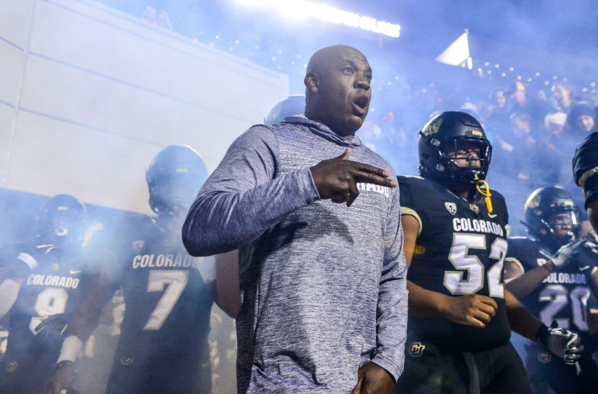 BOULDER, CO - OCTOBER 25: Head coach Mel Tucker of the Colorado Buffaloes leads players onto the field before a game against the USC Trojans at Folsom Field on October 25, 2019 in Boulder, Colorado. (Photo by Dustin Bradford/Getty Images)