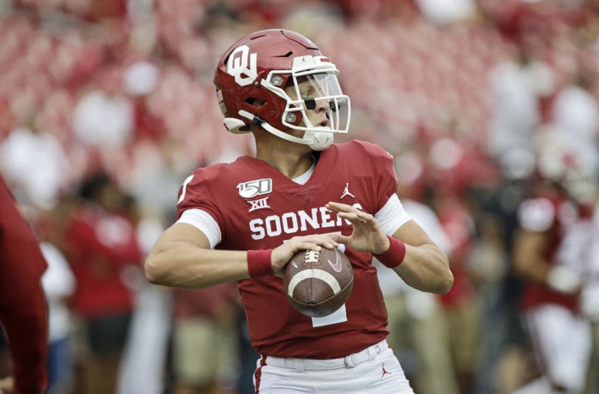 NORMAN, OK - SEPTEMBER 28: Quarterback Spencer Rattler #7 of the Oklahoma Sooners throws during warm ups before the game against the Texas Tech Red Raiders at Gaylord Family Oklahoma Memorial Stadium on September 28, 2019 in Norman, Oklahoma. The Sooners defeated the Red Raiders 55-16. (Photo by Brett Deering/Getty Images)