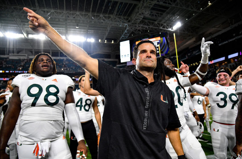 MIAMI, FLORIDA - OCTOBER 11: Head Coach Manny Diaz of the Miami Hurricanes celebrates the win against the Virginia Cavaliers in the second half at Hard Rock Stadium on October 11, 2019 in Miami, Florida. (Photo by Mark Brown/Getty Images)