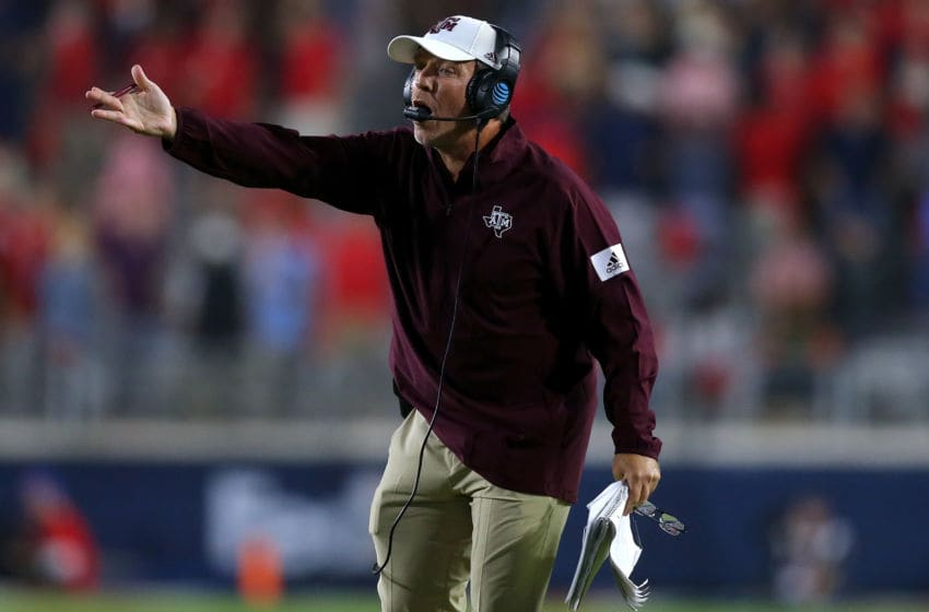 OXFORD, MISSISSIPPI - OCTOBER 19: Head coach Jimbo Fisher of the Texas A&M Aggies reacts during the second half against the Mississippi Rebels at Vaught-Hemingway Stadium on October 19, 2019 in Oxford, Mississippi. (Photo by Jonathan Bachman/Getty Images)