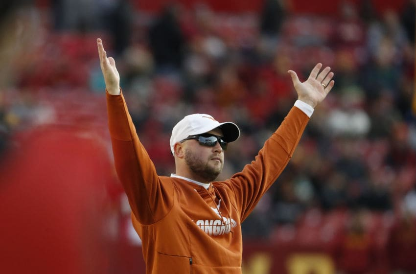 AMES, IA - NOVEMBER 16: Head coach Tom Herman of the Texas Longhorns signals touchdown as a play is reviewed by officials in the first half of play against the Iowa State Cyclones at Jack Trice Stadium on November 16, 2019 in Ames, Iowa. (Photo by David Purdy/Getty Images)