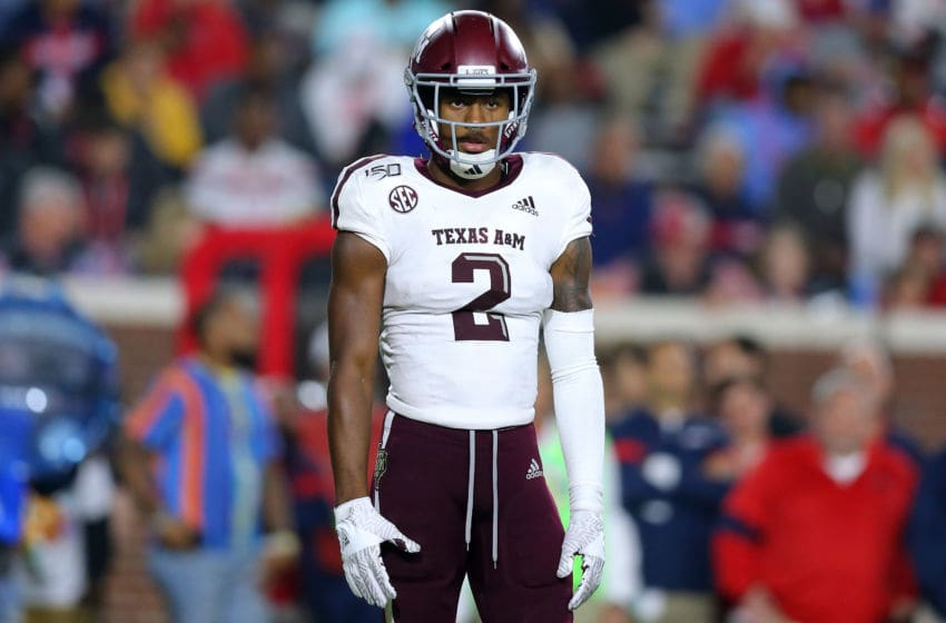 OXFORD, MISSISSIPPI - OCTOBER 19: Jhamon Ausbon #2 of the Texas A&M Aggies reacts during a game against the Mississippi Rebels at Vaught-Hemingway Stadium on October 19, 2019 in Oxford, Mississippi. (Photo by Jonathan Bachman/Getty Images)
