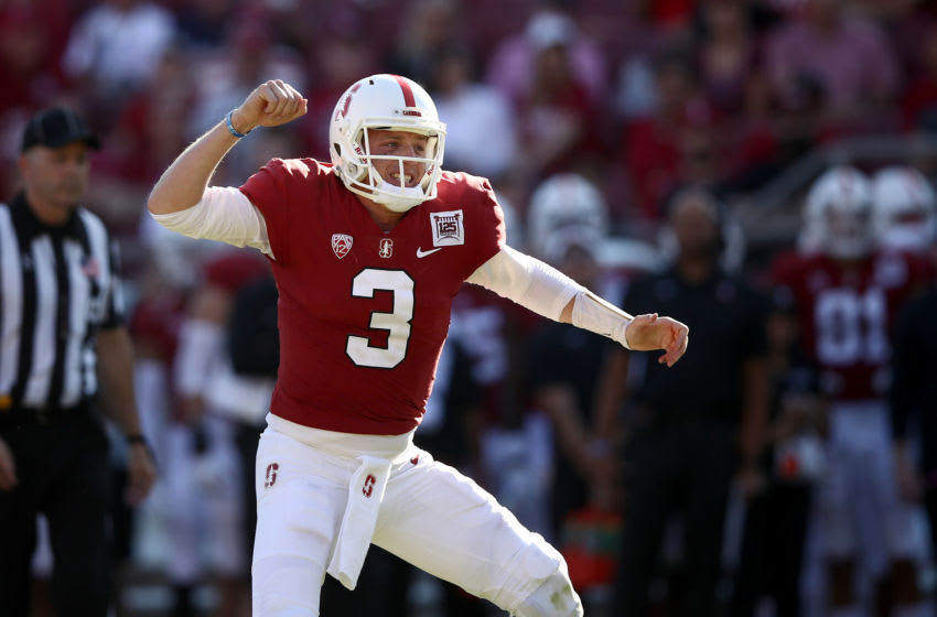 PALO ALTO, CALIFORNIA - OCTOBER 26: K.J. Costello #3 of the Stanford Cardinal reacts after he thought the Cardinal scored a touchdown in the fourth quarter against the Arizona Wildcats at Stanford Stadium on October 26, 2019 in Palo Alto, California. The ball was ruled down on the one yard line on the play. (Photo by Ezra Shaw/Getty Images)