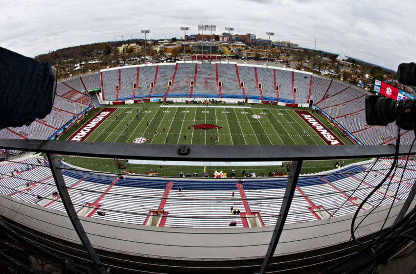 LITTLE ROCK, AR - NOVEMBER 29: Overall view of Warm Memorial Stadium before the Arkansas Razorbacks versus the Missouri Tigers at War Memorial Stadium on November 29, 2019 in Little Rock, Arkansas (Photo by Wesley Hitt/Getty Images)
