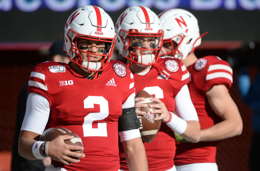 LINCOLN, NE - NOVEMBER 16: Quarterback Adrian Martinez #2 of the Nebraska Cornhuskers warms up before the game against the Wisconsin Badgers at Memorial Stadium on November 16, 2019 in Lincoln, Nebraska. (Photo by Steven Branscombe/Getty Images)