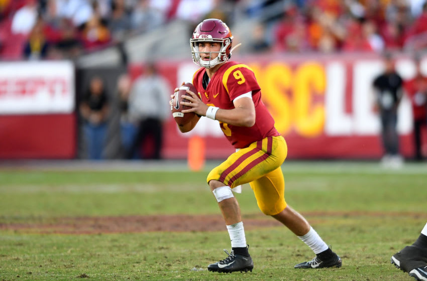 LOS ANGELES, CA - NOVEMBER 23: Quarterback Kedon Slovis #9 of the USC Trojans passes the ball in the second half of the game against the UCLA Bruins at the Los Angeles Memorial Coliseum on November 23, 2019 in Los Angeles, California. (Photo by Jayne Kamin-Oncea/Getty Images)