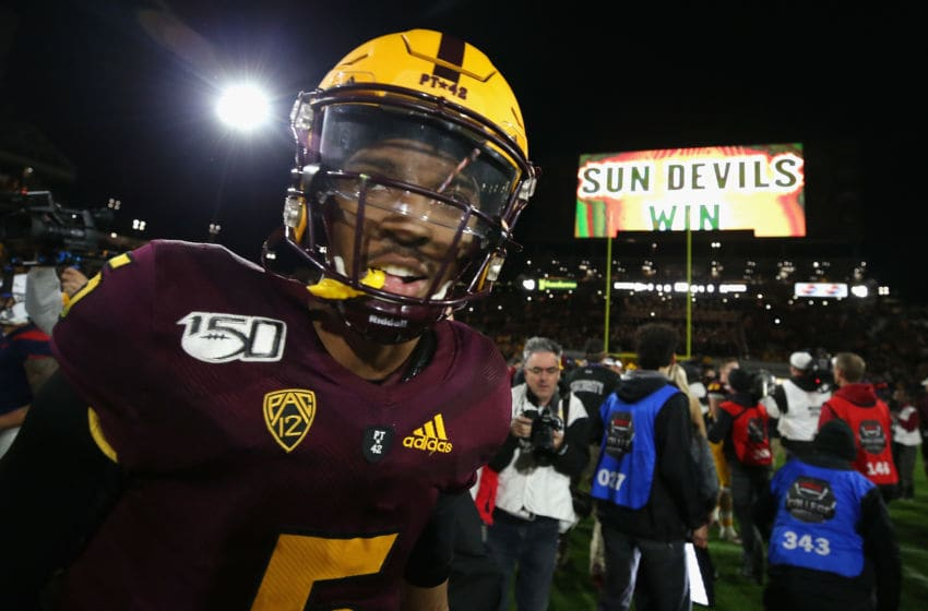 TEMPE, ARIZONA - NOVEMBER 30: Quarterback Jayden Daniels #5 of the Arizona State Sun Devils celebrates on the field following the NCAAF game against the Arizona Wildcats at Sun Devil Stadium on November 30, 2019 in Tempe, Arizona. The Sun Devils defeated the Wildcats 24-14. (Photo by Christian Petersen/Getty Images)