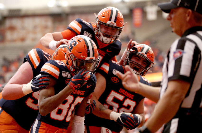 Syracuse football celebrates (Photo by Bryan M. Bennett/Getty Images)