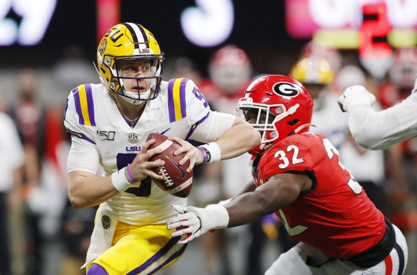 ATLANTA, GEORGIA - DECEMBER 07: Joe Burrow #9 of the LSU Tigers looks to pass in the first half against the Georgia Bulldogs during the SEC Championship game at Mercedes-Benz Stadium on December 07, 2019 in Atlanta, Georgia. (Photo by Kevin C. Cox/Getty Images)