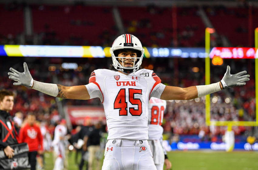 SANTA CLARA, CALIFORNIA - DECEMBER 06: Samson Nacua #45 of the Utah Utes celebrates after scoring a touchdown and a two point conversion late in the third quarter during the Pac-12 Championship football game against the Oregon Ducks at Levi's Stadium on December 6, 2019 in Santa Clara, California. The Oregon Ducks won 37-15. (Alika Jenner/Getty Images)