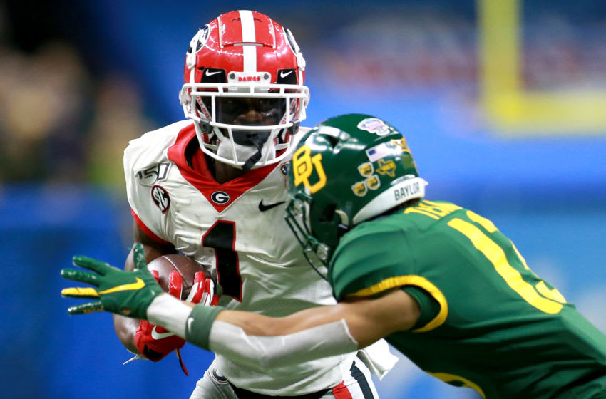 NEW ORLEANS, LOUISIANA - JANUARY 01: George Pickens #1 of the Georgia Bulldogs in action during the Allstate Sugar Bowl at Mercedes Benz Superdome on January 01, 2020 in New Orleans, Louisiana. (Photo by Sean Gardner/Getty Images)