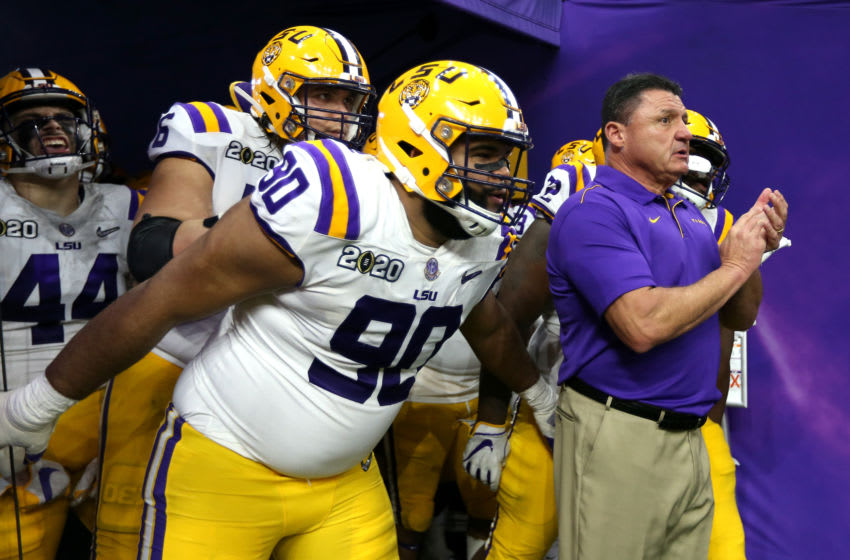 NEW ORLEANS, LOUISIANA - JANUARY 13: Head coach Ed Orgeron of the LSU Tigers prepares to take the field with his team to start the second half against the Clemson Tigers in the College Football Playoff National Championship game at Mercedes Benz Superdome on January 13, 2020 in New Orleans, Louisiana. (Photo by Jonathan Bachman/Getty Images)