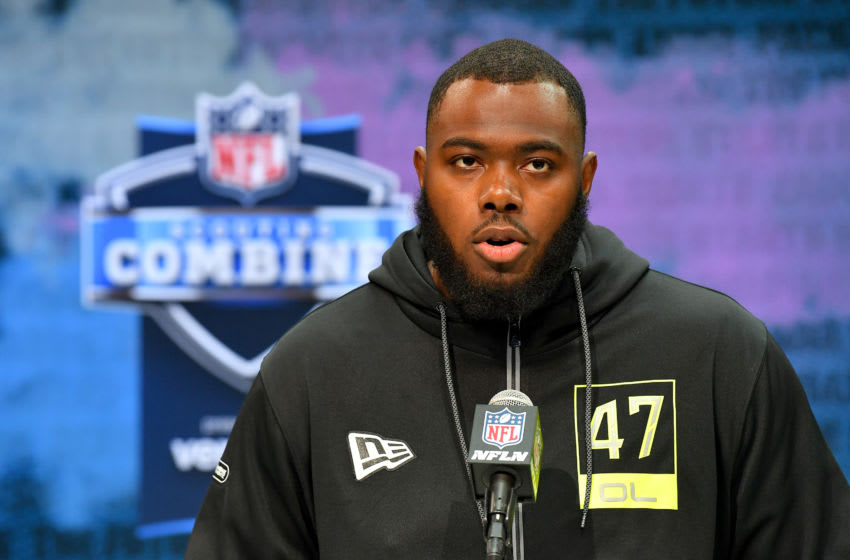 INDIANAPOLIS, INDIANA - FEBRUARY 26: Andrew Thomas #OL47 of Georgia interviews during the second day of the 2020 NFL Scouting Combine at Lucas Oil Stadium on February 26, 2020 in Indianapolis, Indiana. (Photo by Alika Jenner/Getty Images)