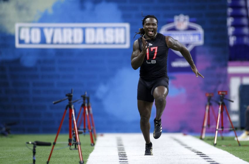 INDIANAPOLIS, IN - FEBRUARY 29: Linebacker Willie Gay Jr. of Mississippi State runs the 40-yard dash during the NFL Combine at Lucas Oil Stadium on February 29, 2020 in Indianapolis, Indiana. (Photo by Joe Robbins/Getty Images)